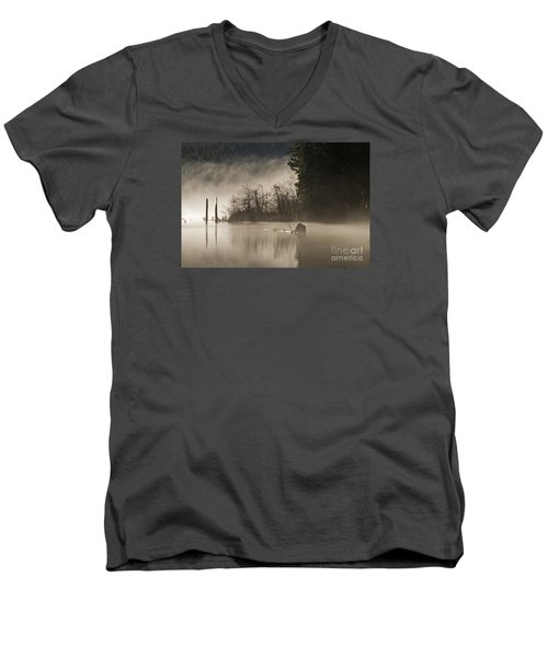 Men's V-Neck T-Shirt featuring the photograph Westwood Lake by Inge Riis McDonald