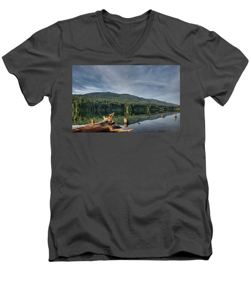 Men's V-Neck T-Shirt featuring the photograph Westwood Lake by Randy Hall