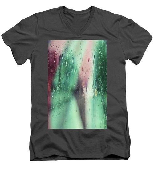 Men's V-Neck T-Shirt featuring the photograph Wet Aqua by Allen Beilschmidt