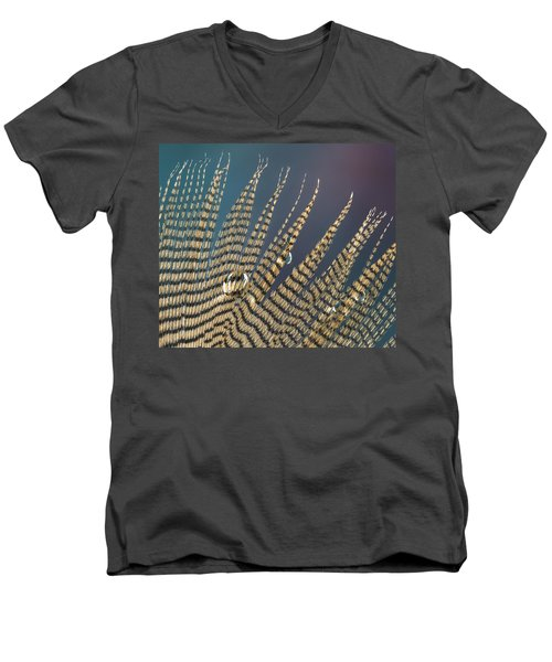 Wet Drop On Wood Duck Feather Men's V-Neck T-Shirt