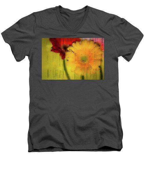 Wet Glass Flowers Men's V-Neck T-Shirt