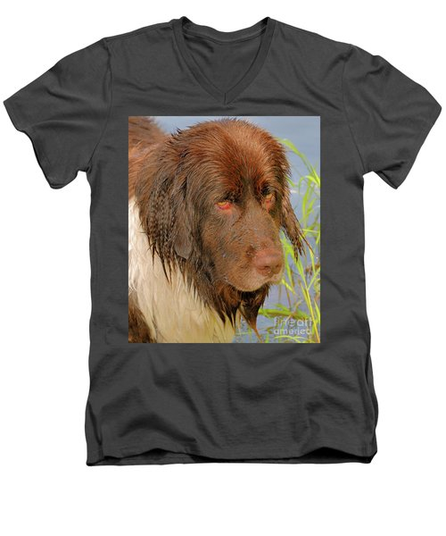 Men's V-Neck T-Shirt featuring the photograph Wet Newfie by Debbie Stahre
