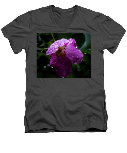 Men's V-Neck T-Shirt featuring the photograph Wet Wild Rose by Darcy Michaelchuk