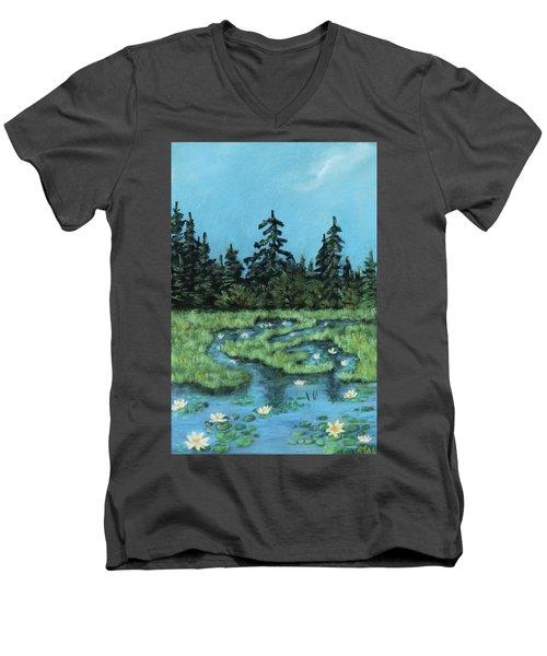 Men's V-Neck T-Shirt featuring the painting Wetland - Algonquin Park by Anastasiya Malakhova