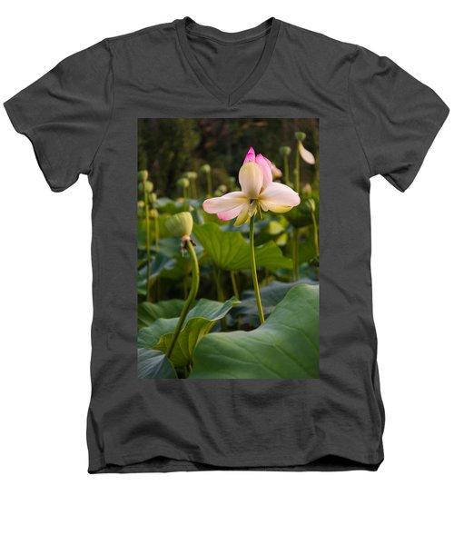 Men's V-Neck T-Shirt featuring the photograph Wetland Flowers by Kristopher Schoenleber