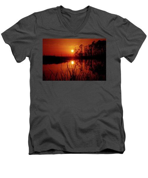 Men's V-Neck T-Shirt featuring the photograph Wetland Sunset by Robert Geary