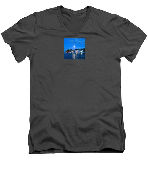 Weymouth Harbour, Full Moon Men's V-Neck T-Shirt