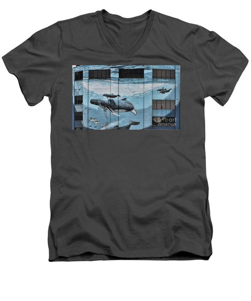 Whale Deco Building  Men's V-Neck T-Shirt by Chuck Kuhn