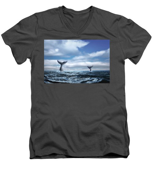 Men's V-Neck T-Shirt featuring the photograph Whale Of A Tail by Tom Mc Nemar