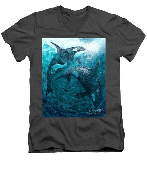 Whales  Ascending  Descending Men's V-Neck T-Shirt