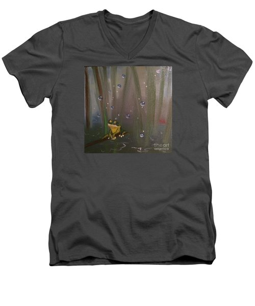 Men's V-Neck T-Shirt featuring the painting What by Denise Tomasura