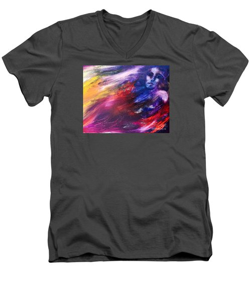 Men's V-Neck T-Shirt featuring the painting What Hides  by Marat Essex