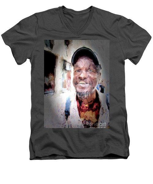 Men's V-Neck T-Shirt featuring the photograph The Smiling Man by Jack Torcello