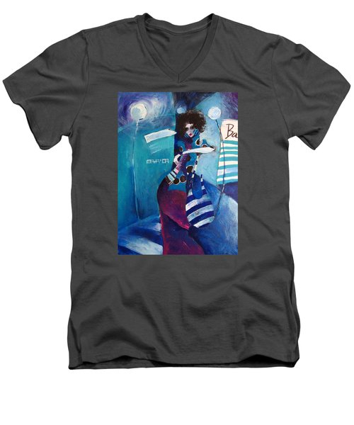 Men's V-Neck T-Shirt featuring the painting What Time Is It by Maya Manolova