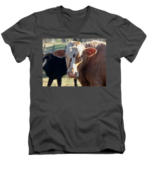 Men's V-Neck T-Shirt featuring the photograph What You Lookin' At by Betty Northcutt