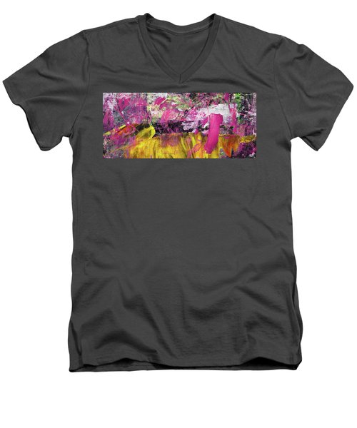 Whatever Makes You Happy - Large Pink And Yellow Abstract Painting Men's V-Neck T-Shirt