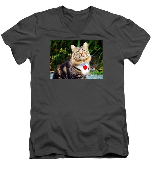 Men's V-Neck T-Shirt featuring the photograph What's Up There by Zinvolle Art