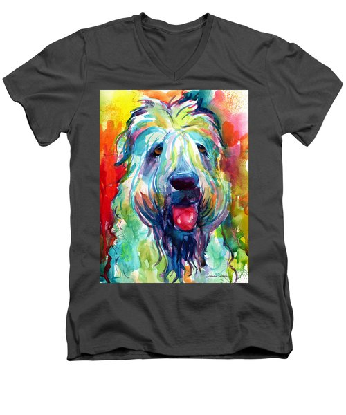 Wheaten Terrier Dog Portrait Men's V-Neck T-Shirt