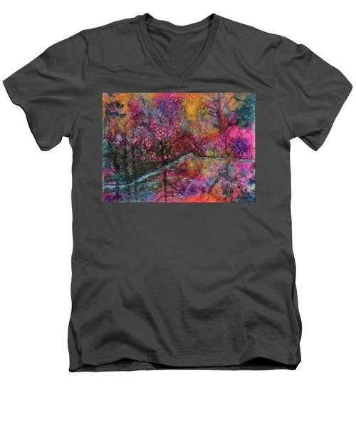 When Cherry Blossoms Fall Men's V-Neck T-Shirt by Donna Blackhall