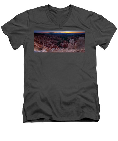 Men's V-Neck T-Shirt featuring the photograph When The Light Was Born by Edgars Erglis