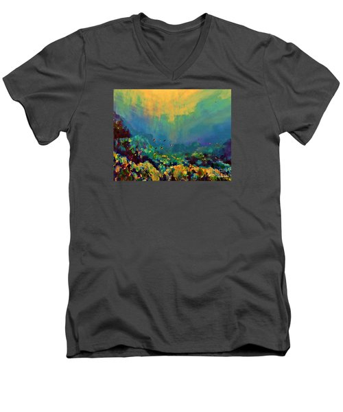 When The Sun Is Looking Into The Sea Men's V-Neck T-Shirt by AmaS Art