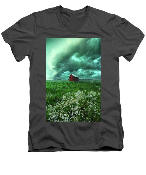 Men's V-Neck T-Shirt featuring the photograph When The Thunder Rolls by Phil Koch