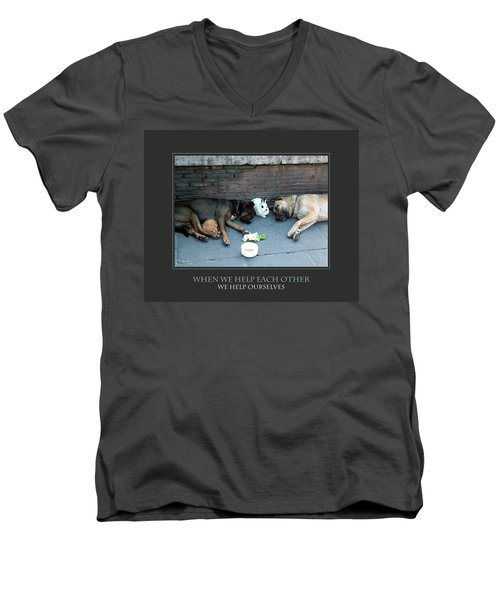 When We Help Each Other Men's V-Neck T-Shirt by Donna Corless