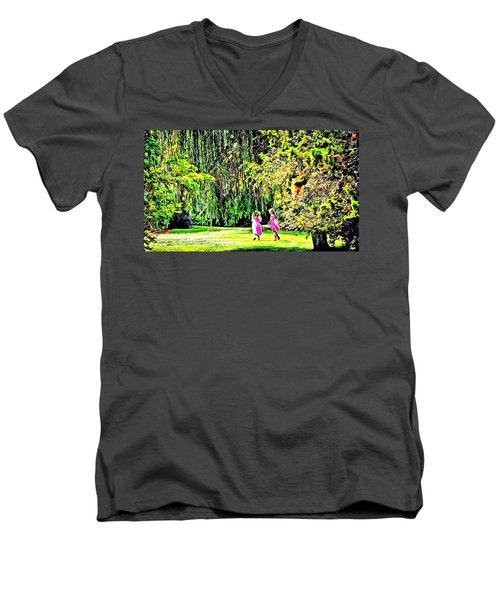 Men's V-Neck T-Shirt featuring the photograph When We Were Young II by Barbara Dudley