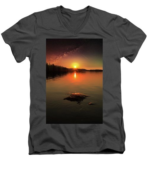 Where Heaven Touches The Earth Men's V-Neck T-Shirt by Rose-Marie Karlsen