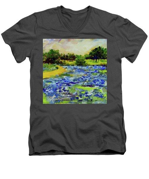 Where The Beautiful Bluebonnets Grow Men's V-Neck T-Shirt