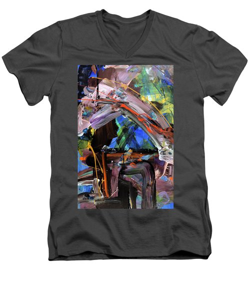 Where The Smiles Roam Abstract  Men's V-Neck T-Shirt by Erika Pochybova