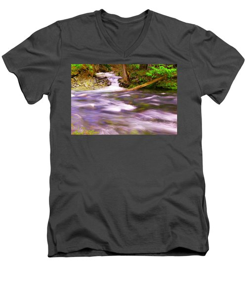 Men's V-Neck T-Shirt featuring the photograph Where The Stream Meets The River by Jeff Swan