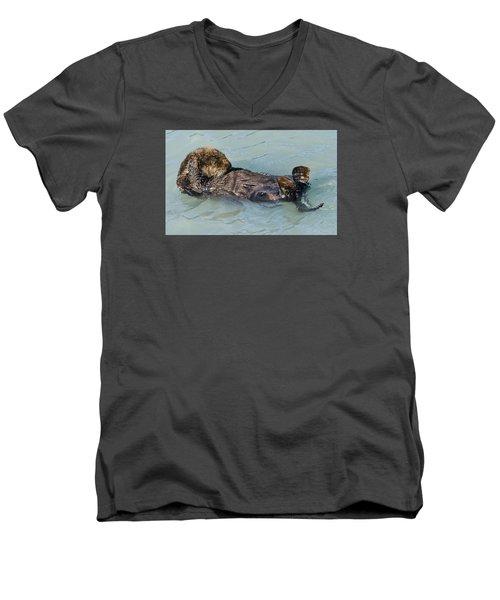 Wheres My Navel Men's V-Neck T-Shirt by Harold Piskiel