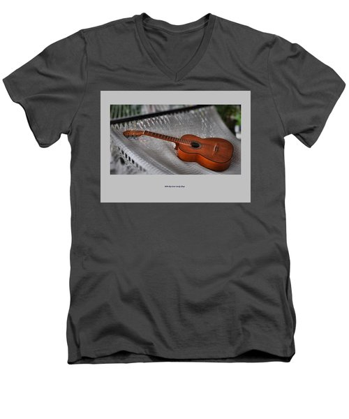 Men's V-Neck T-Shirt featuring the photograph While My Guitar Gently Sleeps by Jim Walls PhotoArtist