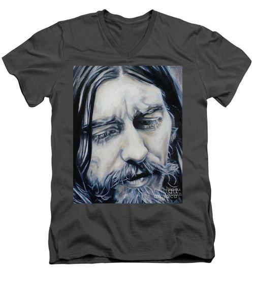 While My Guitar Men's V-Neck T-Shirt by Rebecca Glaze