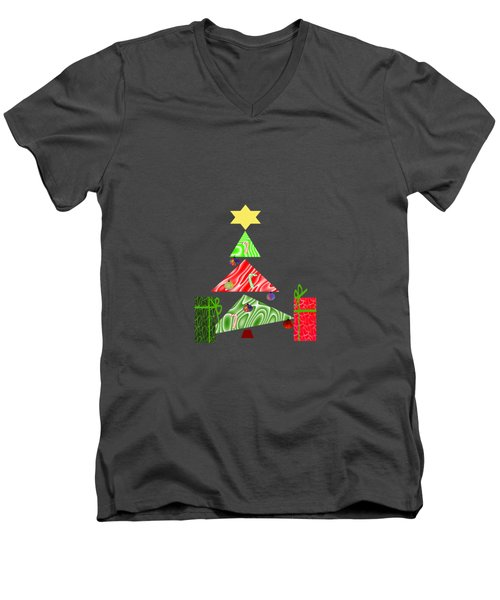 Whimsical Christmas Tree Men's V-Neck T-Shirt by Kathleen Sartoris