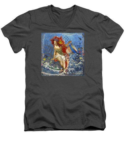 Mermaid Aquarius Vintage Whimsical Gothic Funny Men's V-Neck T-Shirt by Mary Hubley