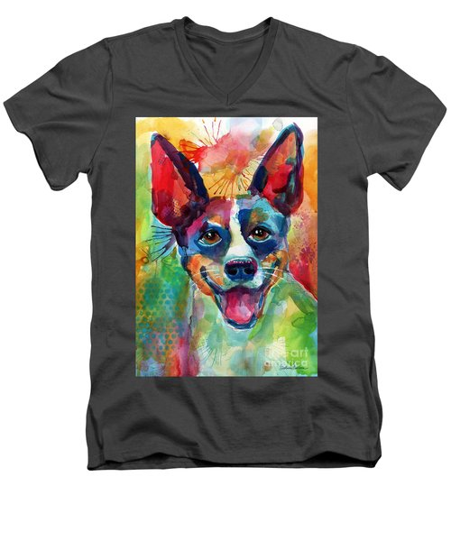 Whimsical Rat Terrier Dog Painting Men's V-Neck T-Shirt
