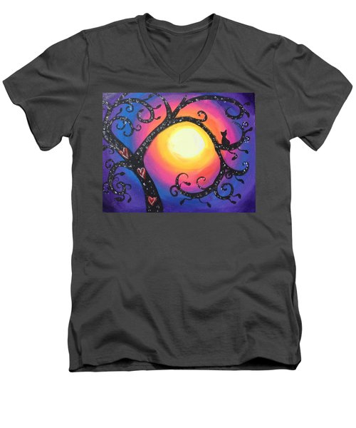 Whimsical Tree At Sunset Men's V-Neck T-Shirt by Diana Riukas