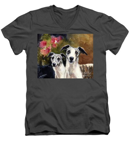 Men's V-Neck T-Shirt featuring the painting Whippets by Molly Poole