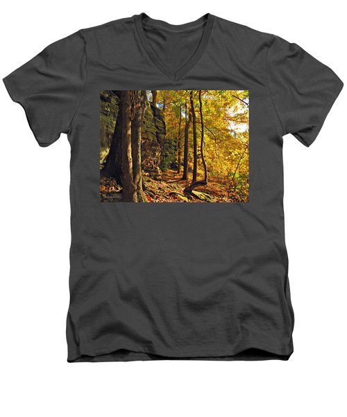 Men's V-Neck T-Shirt featuring the photograph Whipp's Ledges In Autumn by Joan  Minchak