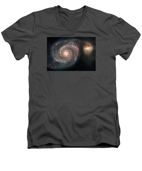 Whirlpool Galaxy And Companion  Men's V-Neck T-Shirt by Hubble Space Telescope