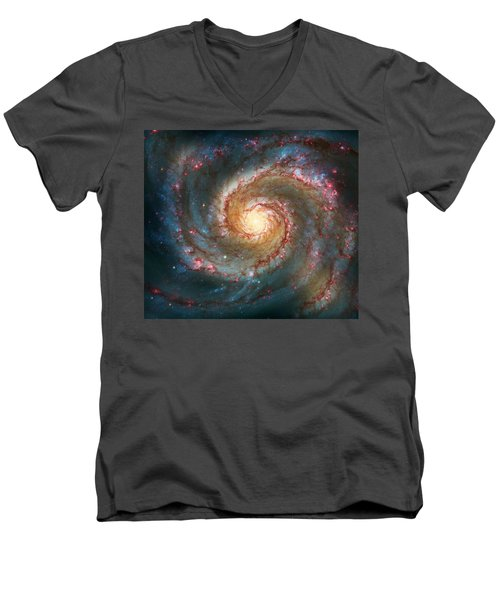 Whirlpool Galaxy  Men's V-Neck T-Shirt by Jennifer Rondinelli Reilly - Fine Art Photography