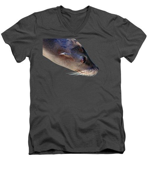 Whiskers Men's V-Neck T-Shirt by Debbie Oppermann