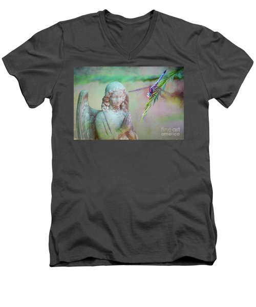 Men's V-Neck T-Shirt featuring the photograph Whisper Of Angel Wings by Bonnie Barry