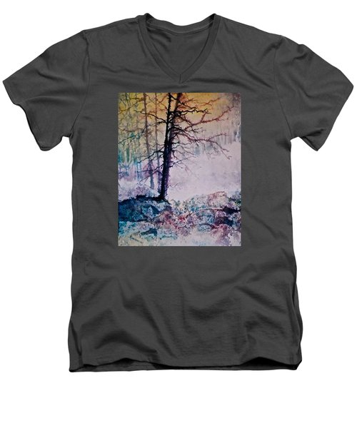 Men's V-Neck T-Shirt featuring the painting Whispers In The Fog by Carolyn Rosenberger
