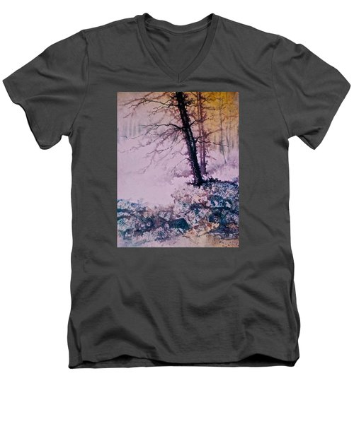 Men's V-Neck T-Shirt featuring the painting Whispers In The Fog  Partii by Carolyn Rosenberger