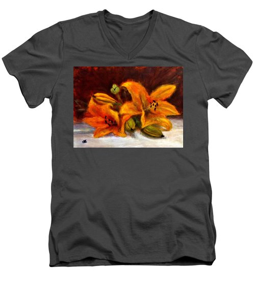 Men's V-Neck T-Shirt featuring the painting Whispers Of Love..2 by Cristina Mihailescu