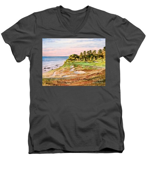 Men's V-Neck T-Shirt featuring the painting Whistling Straits Golf Course 17th Hole by Bill Holkham