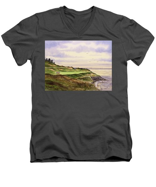 Men's V-Neck T-Shirt featuring the painting Whistling Straits Golf Course Hole 7 by Bill Holkham